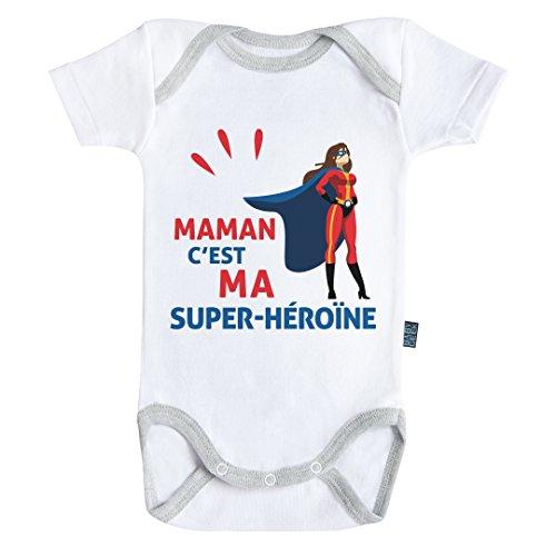 Baby Geek Maman c'est ma Super-héroïne - Body Bébé Manches Courtes - Coton - Blanc - Coutures Grises (18-24 Mois)