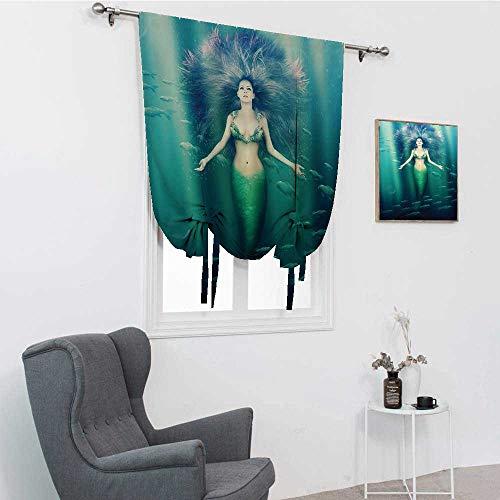 GugeABC Cenefa para ventana de sirena con peces en los rayos del sol, luces solares mágicas subacuáticas para ventana, 76,2 x 162,6 cm