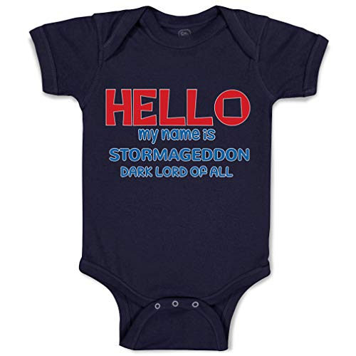 Custom Baby Bodysuit Hello My Name is Stormageddon Dark Lord of All Funny Cotton Boy & Girl Baby Clothes Navy Design Only 6 Months