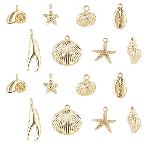 SUNNYCLUE 1 Box 16Pcs 8 Styles Real 14K Gold Plated Charms Bulk Gold Sea Theme Charms Starfish Seahorse Pendants for Earring Necklace Bracelet Jewelry Making Supplies