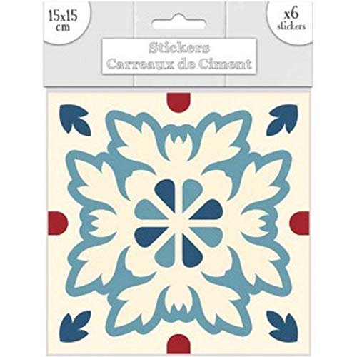 STC - Lot de 6 Stickers Carreaux de Ciment – Bleu Motif B