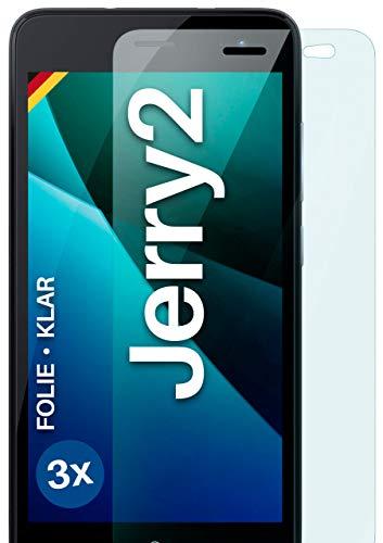 moex Klare Schutzfolie kompatibel mit Wiko Jerry 2 - Bildschirmfolie kristallklar, HD Bildschirmschutz, dünne Kratzfeste Folie, 3X Stück