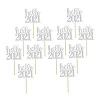 ABOOFAN 12Pcs Hellow2021カップケーキトッパー素敵な紙キラキラケーキピッククリスマスケーキピッククリスマス2021新年テーブルケーキデコレーションパーティー用品は銀を支持します