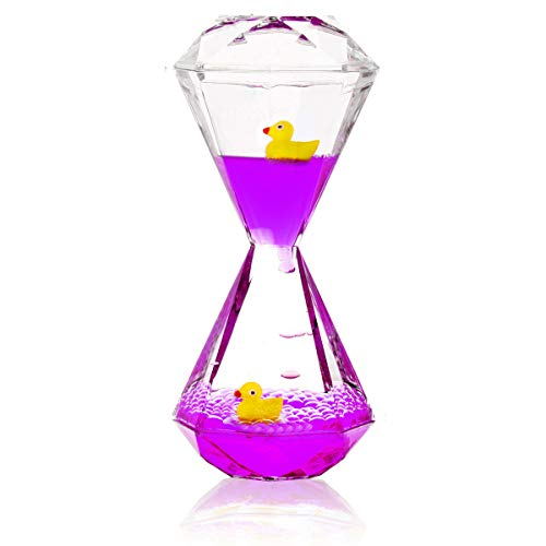 YUE Motion Liquid Motion Bubbler Floating Sea Creatures, Diamond Shaped Liquid Timer for Fidget Toy,Autism Toys , Children Activity, Calming Relaxing and Home Ornament (Purple Liquid with Duck Toys)