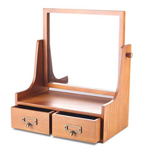 PHH Cadeau préféré de Fille de Miroir de Bureau vanité rétro Desktop Dressing Miroir boîte de Rangement de Bijoux cosmétiques européen Grande Miroir de Stockage de Bijoux HD