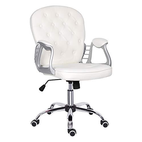 Sedia da ufficio bianca per casa, in pelle, con bracciolo, ergonomica, schienale medio, comoda sedia da ufficio imbottita con funzione a dondolo