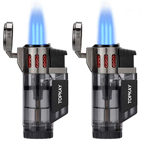 Torch Lighter, Cigar Lighter, Triple Jet Flame Torch Lighters, Windproof Butane Refillable Gas Torch Lighters with a Gift Box, 2 Pack (Without Gas) (Black)