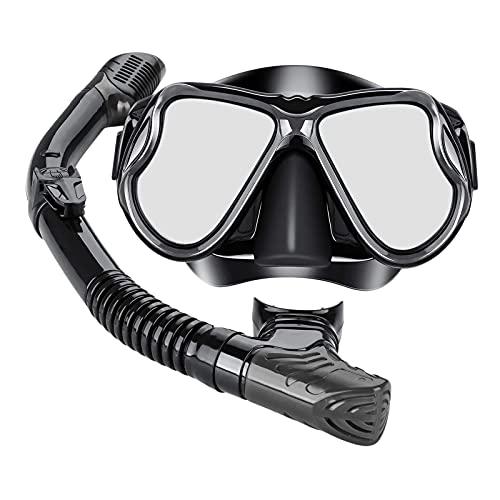 Colcolo Máscara de Buceo Equipo de Snorkel Seco Equipo de Snorkel Pesca Submarina - Negro