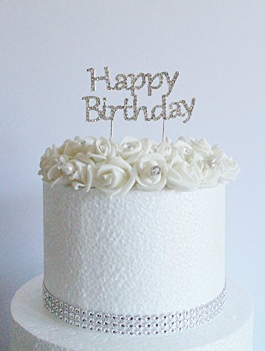 'Happy Birthday' Cake Decoration. Solid Metal covered with Clear Crystals by Cake Wardrobe