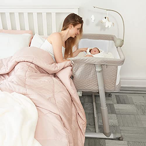 Cloud Baby Bassinets with Music Box – Adjustable and Easy to Assemble Bedside Crib for babies, Lightweight Baby Bassinet and Bedside Sleeper for Safe Co-Sleeping with Detachable Side Panel