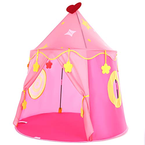 Peradix Girls Play Tent Toy, Kids Princess Castle Pop Up Tent Playhouse Birthday Gift for Children Toddlers Indoor and Outdoor Games with carrying Case (Pink)