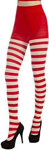 Forum Novelties Women's Adult Christmas Striped Tights, Red/White, One Size