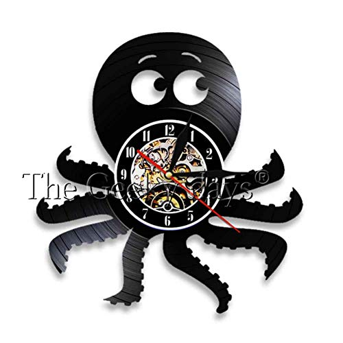 ALKLKJ Reloj de Pared Octopus Náutico Wall Art Reloj de Pared Octopus Vinyl Record Reloj de Pared Deep Sea Navy Decoración para El Hogar Reloj Moderno Reloj de Pared
