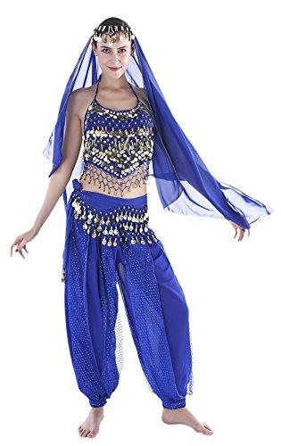 Seawhisper Aladdin Kostüm Damen Arabische Prinzessin Orientalisches Bollywood Bauchtanz Oberteil Hüfttuch Karnevalskostüme Karneval