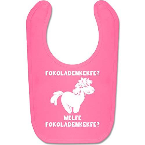 Shirtracer Sprüche Baby - Fokoladenkekfe Einhorn - Unisize - Pink BZ12 - Baby Lätzchen Baumwolle