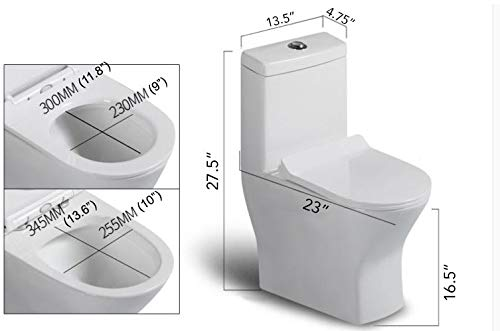 "CARUS TOILET - 23.5"" long x 13.5"" wide x 27.5"" high inch One Piece Short Compact Bathroom Tiny Dual Flush Shortest Projection SMALLEST"