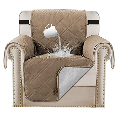 100% Waterproof Pet Furniture Covers Couch Cover for Leather Recliner Chair Cover Luxurious Arm Chair Slipcover for Quilted Dog Sofa Cover Protector Non Slip Chair Shield (Chair 21', Taupe)