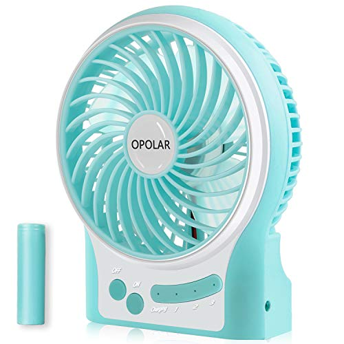 OPOLAR Small Rechargeable Portable Handheld Fan with 3350mAh Battery, Battery Operated Camping Fan For Travel with 4-15 Working Hours, Powerful & 3 Speeds, Ideal for Indoor & Outdoor Use