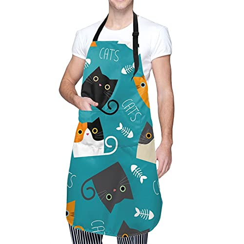 Cute Cats Cooking Aprons with 2 Pockets for Women Men Plus Size Waterproof Avoid Oil Stains Adjustable Neck Strap for Cooking Gardening Painting Cosmetology Kitchen Personalized Gifts