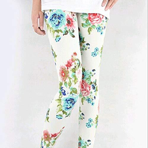UKKD Mallas Camuflaje De Mujeres para Leggins Estilo Graffiti Pantalones Delgados Pantalones Estiramientos Pantaloni Leggings Ejército Verde Remoto Pantaloni,Peonía Blanca,Talla Única