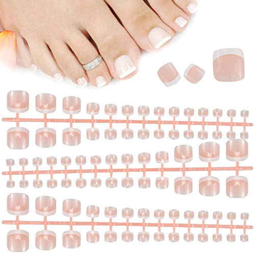 84 Pezzi Francesi Finte Unghie dei Piedi, 14 Misure Unghie Finte con Punte French, Copertura Completa Artificiali Unghie, Acrilico False Toe Nails Tips per Signore Donne Ragazze Nail Decorazione