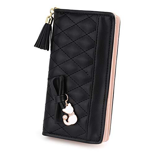 UTO Damen PU Leder Lange Brieftasche Große Kapazität mit Cute Cat Anhänger Kartenhalter Handytasche Mädchen Reißverschluss Geldbörse Schwarz2