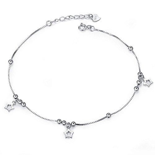 Damen Fußkettchen,Kugel Fußkette 925 Sterling Silber mit Stern für Damen,Schmuck mit Geschenkbox für Geburtstags Weihnacht