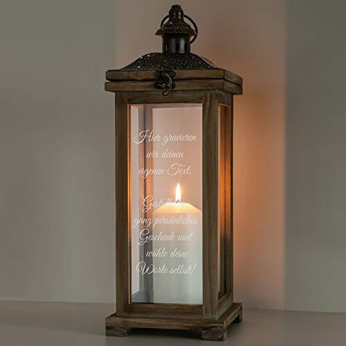 Geschenke 24 Laterne Landhaus Holz mit Wunschtext: Holzlaterne mit Spruch personalisiert - Gartenlaterne, Windlicht, Gartendeko
