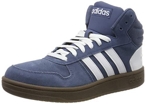 adidas Herren Hoops 2.0 Mid Hohe Sneaker, Blau (Tech Ink/Footwear White/Footwear White 0), 43 1/3 EU