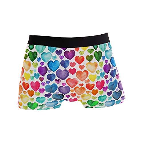 BONIPE Bunte Regenbogen-Herz-Liebes-Muster Boxershorts Herren Unterwäsche Jungen Stretch Atmungsaktiv Low Rise Trunks S Gr. M, mehrfarbig
