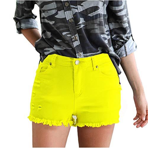 Pantalones Cortos con Flecos de Moda para Mujer, Tapeta con Cremallera de Dos Bolsillos, Corte Ajustado, Color sólido, Verano, Fresco, Simple, Pantalones Cortos de Mezclilla Small