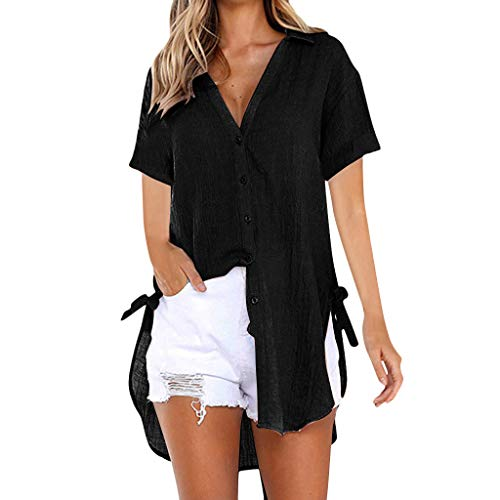 Momoxi Frauen Sommer Lose Button langes Hemd Kleid Baumwoll Damen Casual Oberseiten T-Shirt Bluse Shirt Tops Tank Lady-fit Schwarz floryday Kleider Long Shirts Frauen Camouflage Bluse Big Shirts