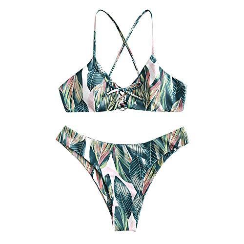 ZAFUL Damen Sommer Blattdruck Schnürung Kreuziges Bikini Bademode Badeanzug(Multi S)