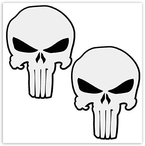 SkinoEu® 2 Stück Vinyl Aufkleber Autoaufkleber Punisher Skull Schädel Totenkopf Weiß Knochen Horror Stickers Auto Moto Motorrad Fahrrad Helm Fenster Tuning B 28