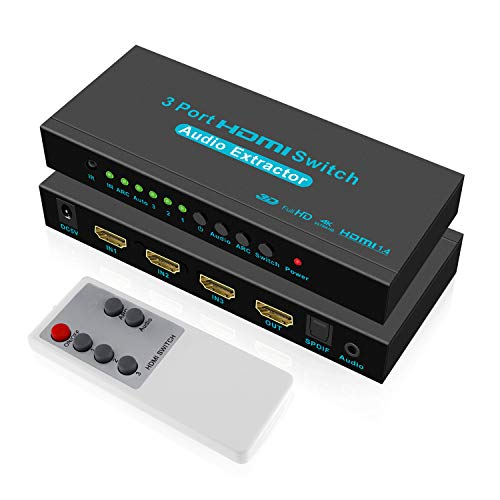 SGEYR HDMI Switch 4K 3x1 HDMI Umschalter 3 Ports HDMI Switcher 3 In 1 Audio Extractor mit IR-Fernbedienung SPDIF und 3.5mm Audio Output Unterstützung ARC 4K@30Hz UHD 3D 1080P