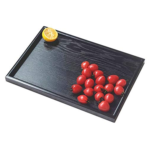 Wooden Serving Tray Rectangle Fruit Tea Breakfast Platter for Home Hotel Cafe Coffee Shop Canteens Black Lacquer (25182cm)