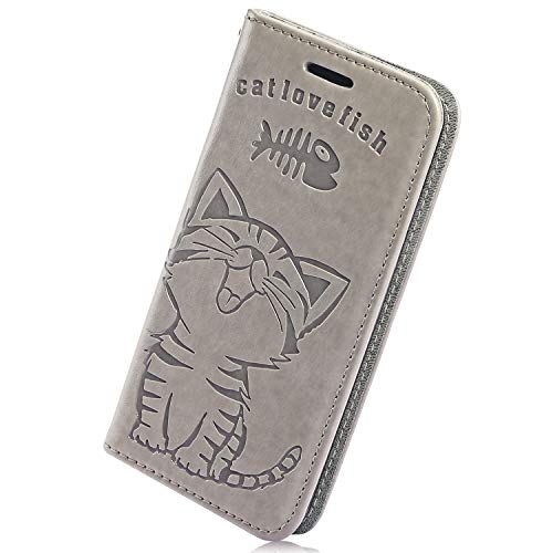 Buy Discount Herbests Compatible with Samsung Galaxy A70 Wallet Case Cute Retro Cat Fish Embossed Pa...