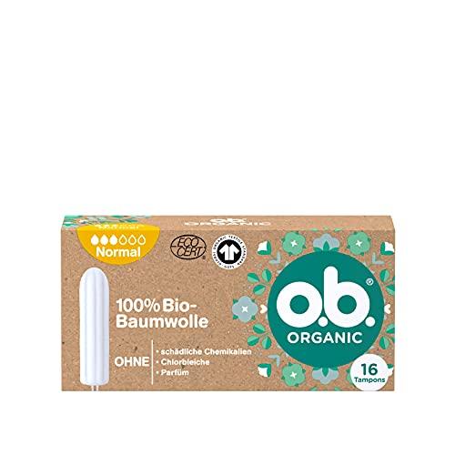o.b. Organic Normal, Bio Tampons für mittlere bis stärkere Tage aus 100{2297f9906f9cc23b057a308409e1ea489196b14ac88165d62ad81a1b7aa083bc} Bio Baumwolle für natürlichen Schutz (1 x 16 Stück)