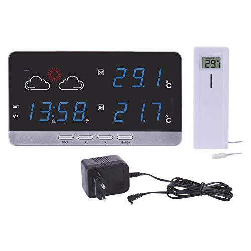 EMOS E5201 drahtlose Wetterstation mit farbigem Display, Funkuhr, Innen-und Außentemperaturanzeige/Thermometer, Wecker, Datumsanzeige