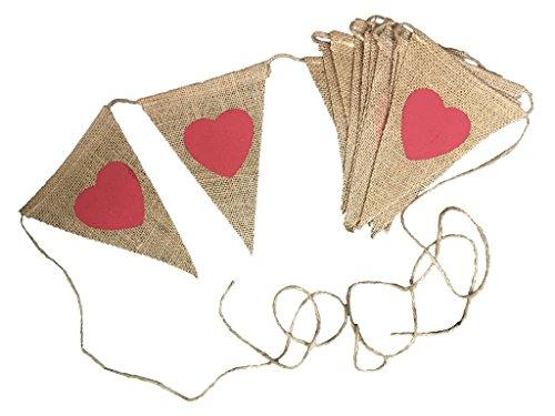 KRAFTZ - 3 Meters Rustic Love Red Heart Print Jute Triangular Flags Bunting Hessian Fabric Wedding Party Birthday Garland Vintage Burlap DIY Decors Banner Photo Props