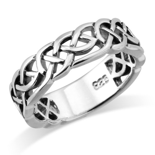 Sterling Silver Woven Celtic Knot Trinity Band Ring - Size 7