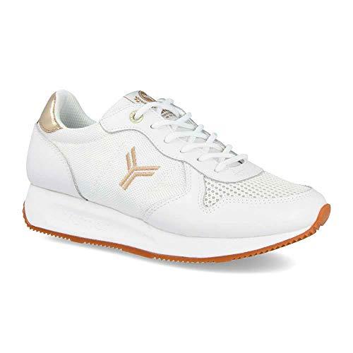 Zapatilla Sneaker Yumas Venus Blanco Fabricado en Piel Serraje y nilon Plantilla Confort Latex para Mujer