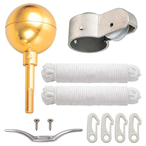 """Deneve Flag Pole Parts Kit Includes: 3' Gold Topper Ball 