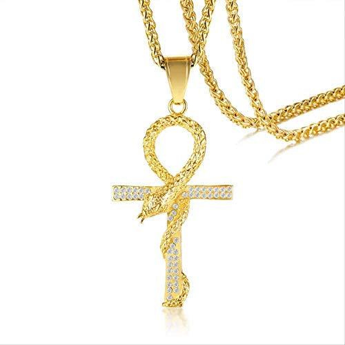 LBBYMX Co.,ltd Necklace Mens Snake Cross Necklaces Gold Tone Stainless Steel Ankh Pendant Colar Masculino Necklace