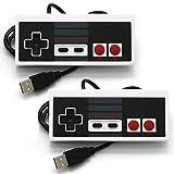Pack de 2 controladores USB para juegos clásicos NES, Retro Game Pad Gamepad Joystick para Windows PC, PC, PC, Mac, Raspberry Pi, (blanco)