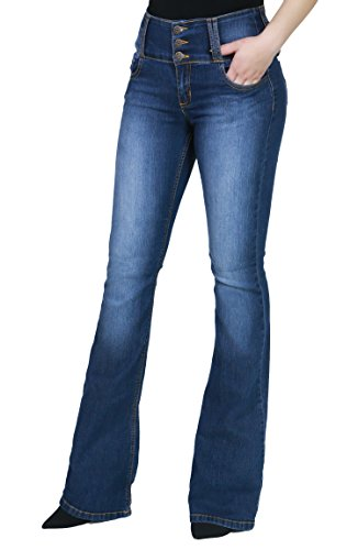 Women Fashion Trendy Sexy High Waisted Stylish Flare Bell Bottom Jean SIZE : 5 BLUE-WV34485