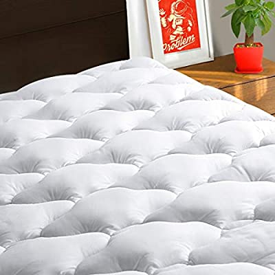 TEXARTIST King Mattress Pad Cover Cooling Mattress Topper 400 TC Cotton Pillow Top Mattress Cover Quilted Fitted Mattress Protector with 8-21 Inch Deep Pocket