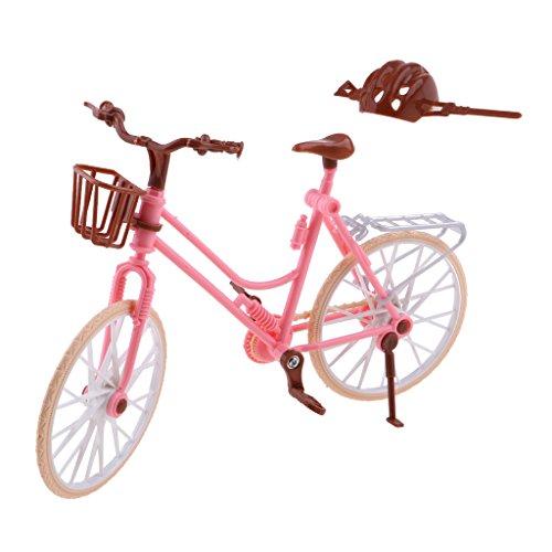 MagiDeal 1/6 Juguete Mini Modelo de Bicicleta de Plástico Rosado con Casco...