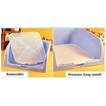 N / A Intérieur Chien Toilette Chiot Formation en Plastique Pot Toilettes Anti-Éclaboussures Litière pour Animaux De Compagnie avec Clôture(Color:Bleu)