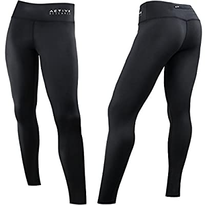Active Research Women's Compression Pants - Athletic Tights w/Hidden Pocket - X-Small